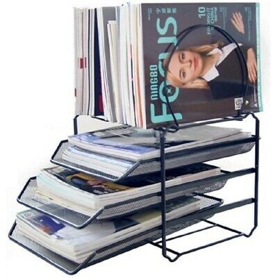 Home And Office Desk File Organizer Magazine Sorter 3-tier Letter Tray Black
