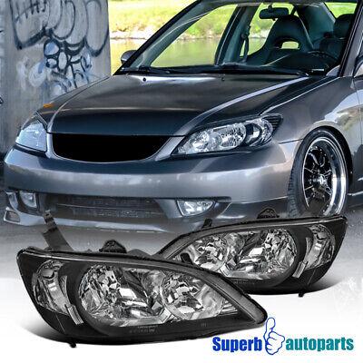 For 2004-2005 Honda Civic 2Dr/4Dr JDM Diamond Headlights Lamps Black