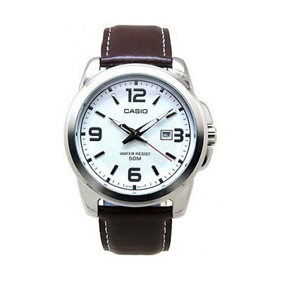 50m White Dial Watch (Casio MTP1314L-7A Mens Brown Leather Modern Dress Watch New 50M White Dial )