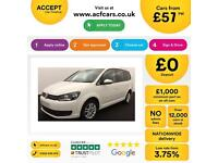 VOLKSWAGEN TOURAN 1.6 2.0 TDI 140 SE MATCH SPORT 7 SEATS FROM £57 PER WEEK.