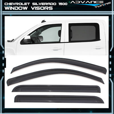 Fits 14-18 Chevy Silverado 1500 Sierra Crew Cab Acrylic Window Visors 4Pc