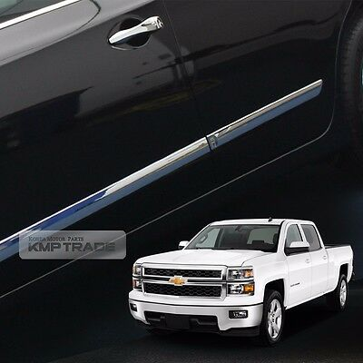 Body Side door Chrome Molding 4Pcs for CHEVY 2014 - 2018 Silverado Crew Cab
