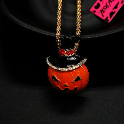 Betsey Johnson Orange Enamel Halloween Hat Pumpkin Crystal Lady Sweater Necklace
