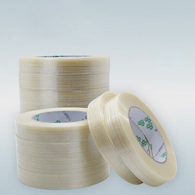 25m 50m - Extra Strong Clear Fiberglass Reinforced Strapping Filament Tape