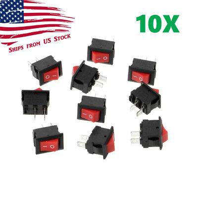 10pcs Mini Rocker Switch 2 Pin On-off Spst 125vac6a 250vac3a Red Kcd11 Us