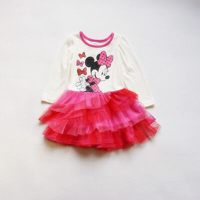 Disney Minnie Pink Red Kids Baby Girls Long Sleeve Skirt Dress Outfit Clothes - Disney Baby Cloths