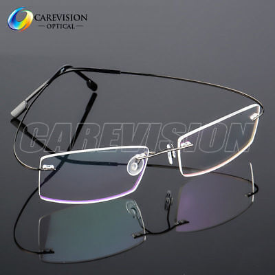(Flexible Memory Titanium-Alloy Rimless Eyeglasses Frames Optical Eyewear RX Able)