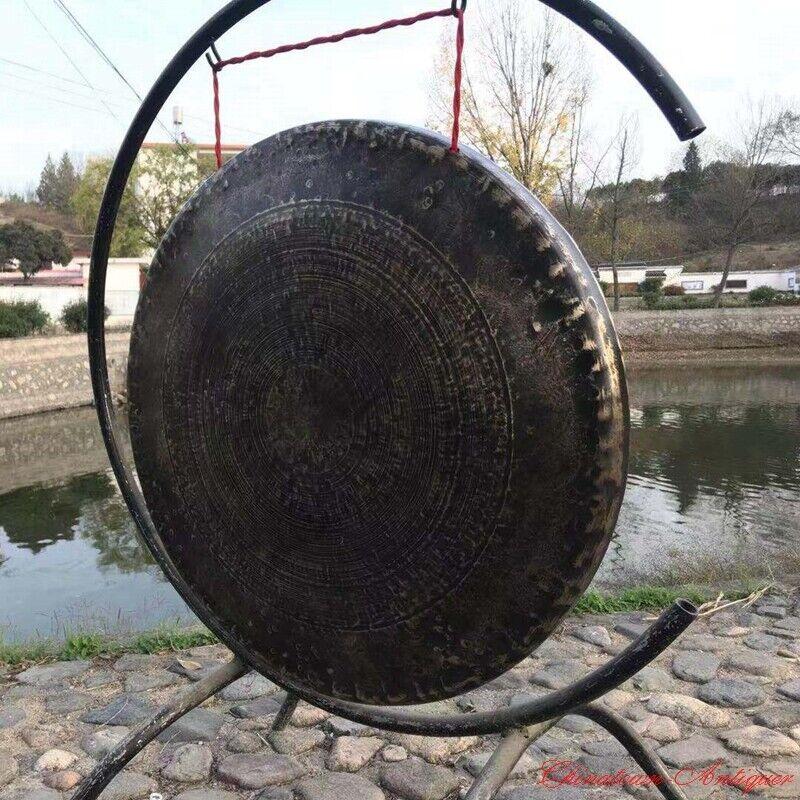 "28"" Tibetan Buddhist Ritual Lion Gong Clear The Way Gong Bell Bronze 開道鑼#1600"