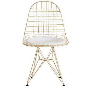 Eames Style Eiffel Dining Chair Mid-Century Restaurant Gold
