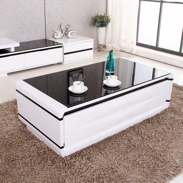 Modern Design Livingroom Black Glass Top High Gloss White Coffee Table 2 Drawers Type3 Ebay