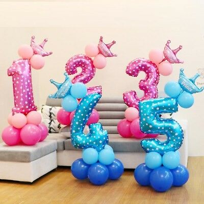 Balloons Number Birthday Party Baby Shower Boy Girl Decoration Balloon First one (Number One Balloon)