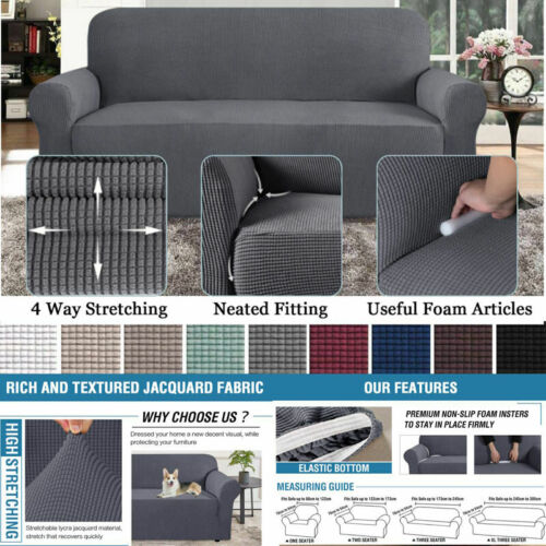 1/2/3/4 Seater Stretch Elastic Sofa Covers Slipcover Couch C