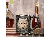 CLICK NOW 3D Wolf Head Steel Mug Royal Grey White Creative Engraved Vintage