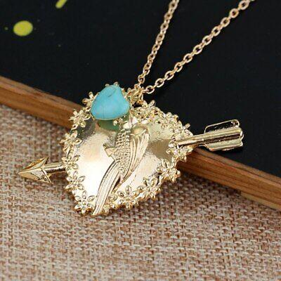 2 Broke Girls Max parrot Gold Pendant Necklace Genuine Turquoise Gem Gift Jewel