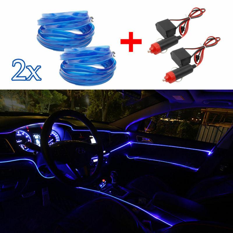 2x1M LED Auto EL Ambientebeleuchtung Innenraumbeleuchtung Neon Lichtleiste blau