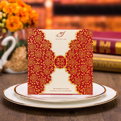Chinese Style Red Double Happiness Xi Wedding Invitation Card Kit
