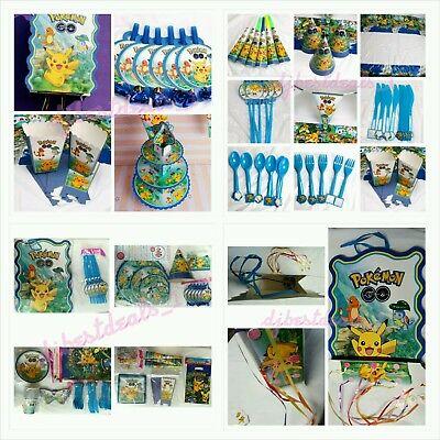 158pcsKids Pokemon Birthday Party Supplies Favor Tableware Decoration PlateGift  - Pokemon Party Supplies
