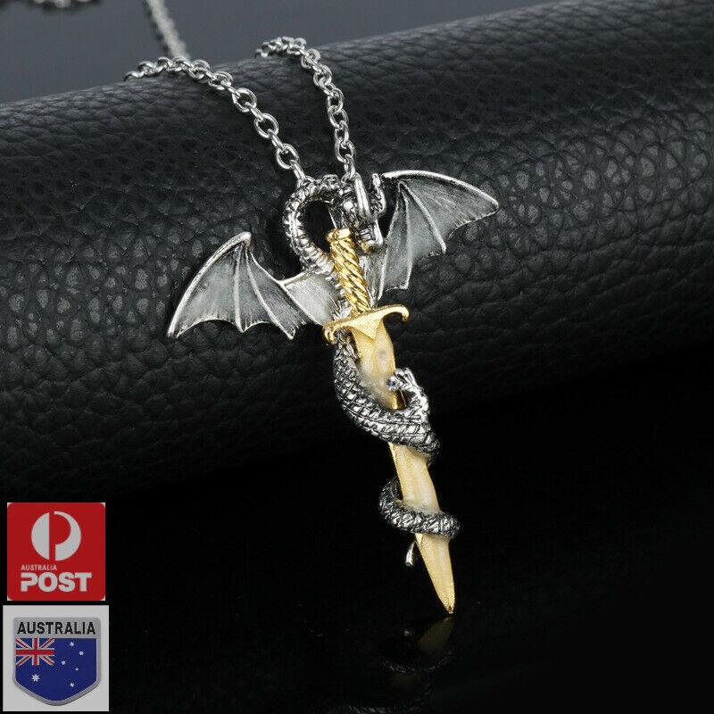 Jewellery - Fashion Dragon Sword Necklace Glow in the Dark Pendants Silver Chain Jewelry