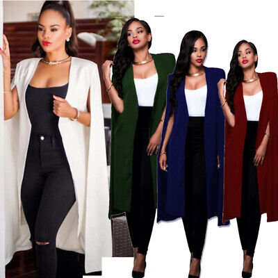 Fashion Women Long Coat Cloak Cape Blazer Suit Jacket Trench Poncho Outwear Tops - Womens Capes