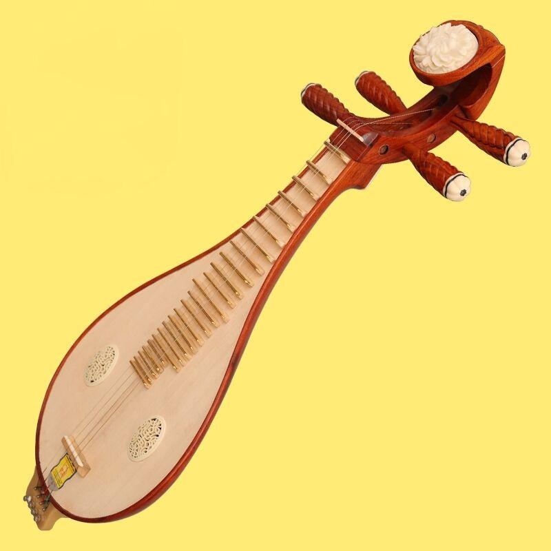 New Red Wood Liuqin, Chinese Soprano Pipa Lute Guitar Musical Instrument #0037