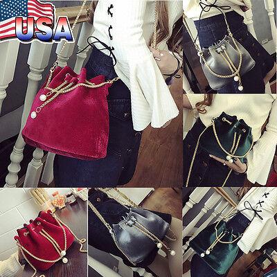 Women's Fashion Handbag Drawstring Shoulder Bag Tote Purse Crossbody Bucket Bags
