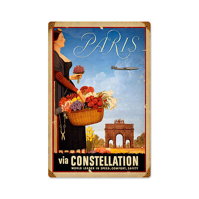 Vintage Style Retro Paris Steel Sign 12 x18