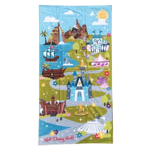"Disney Parks Walt Disney World Map Attractions Beach Towel Cotton 32"" x 64"" 2020"