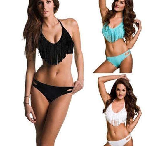 US Sexy Womens Tassel Boho Swimwear Fringe Bikini Top Padded Bottom Swimsuit Set Clothing, Shoes & Accessories