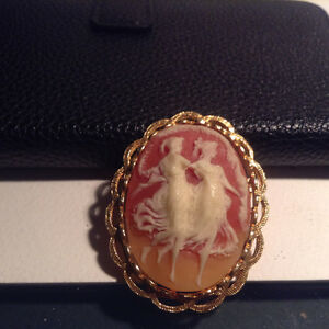 Vintage Estate Pink Cream Dancing Duet Ladies Nymphs Cameo Brooc