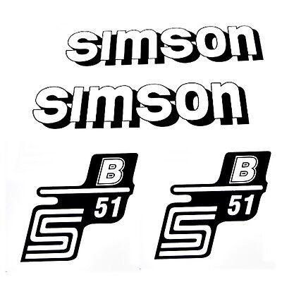 SET Aufkleber Klebefolie SIMSON S51 B - Weiß / Schwarz - für Seitendeckel & Tank