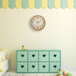 Silent Non Ticking Kids Wall Clock,Battery Operated Colorful Decorative Cl S6I5