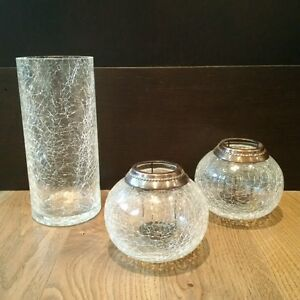 BEAUTIFUL CRACKLE GLASS SET (Candle Holders/Vase) - GREAT GIFT!