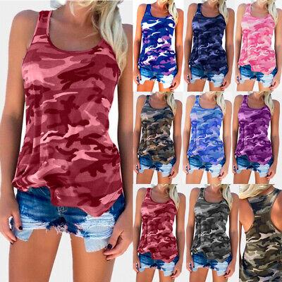 Ärmellos Camouflage (Damen Camouflage Tank Top Trägertop Sommer Ärmellos T Shirt Bluse Hemd Übergröße)
