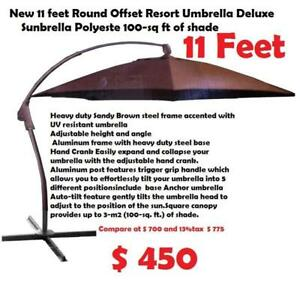 New 11 feet Round Offset Resort Umbrella Deluxe Sunbrella Polyeste 100-sq ft of shade