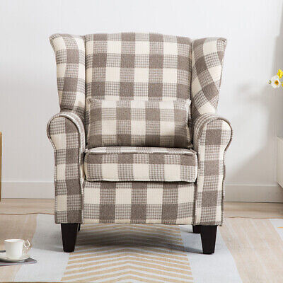 Wing Vintage Upholstered Armchair Pillow Set Easy Chair Wool Tartan Lounge Sofa