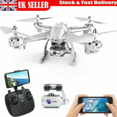 Adjustable FPV Drone 1080P HD Camera WIFI RC Quadcopter Fly Cam Wide Angle White