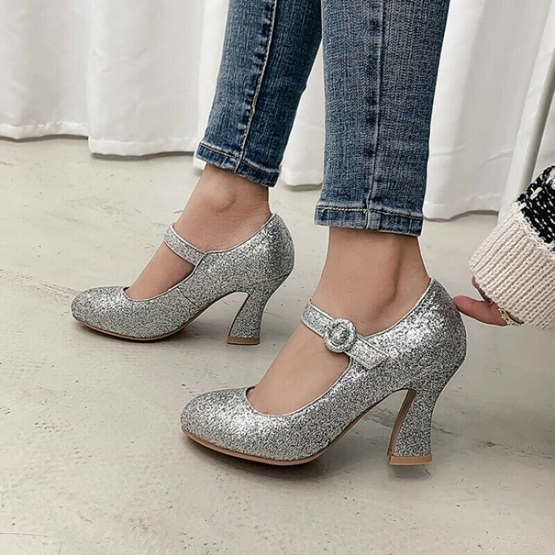 Women Office OL Work Round Toe Buckle Strap Kitten Heel Shoe