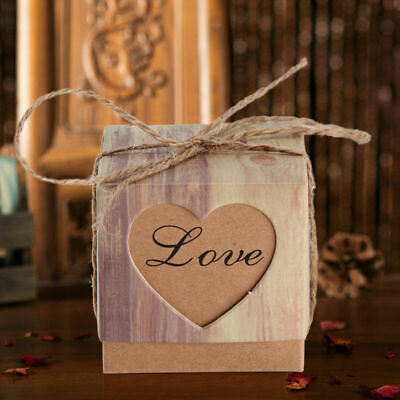 Rustic Favor Boxes (20/50/100 X Luxury Rustic Heart Wedding Favour Favor Sweet Cake Gift Candy)