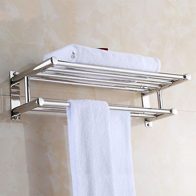 شماعة حمام جديد Hotel Towel Holder Rack With Shelf Shower Double 2 Wall Mount Bathroom Bar Rail