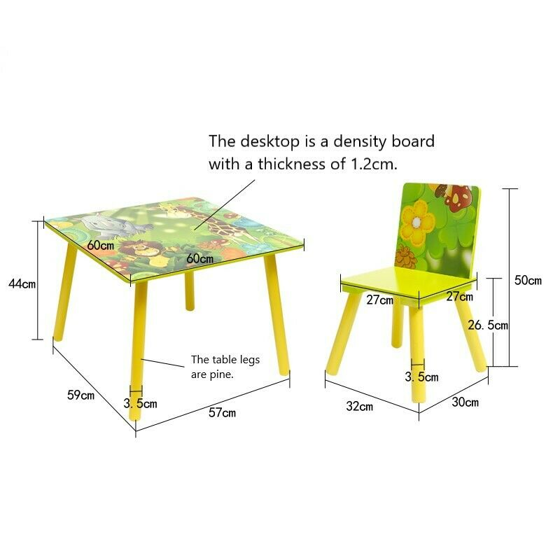 Kids Table and 2 Chairs For Toddler Baby Gift Desk Furniture Cartoon Sniper A+ 7