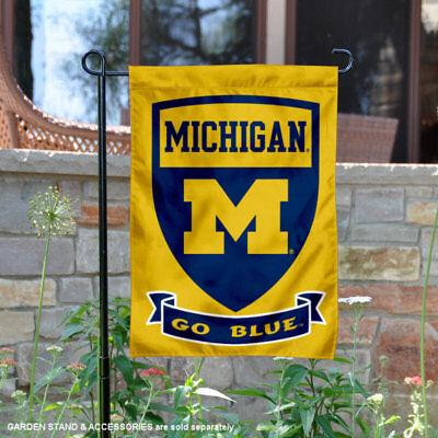 Michigan Wolverines Shield Garden Flag and Yard Banner