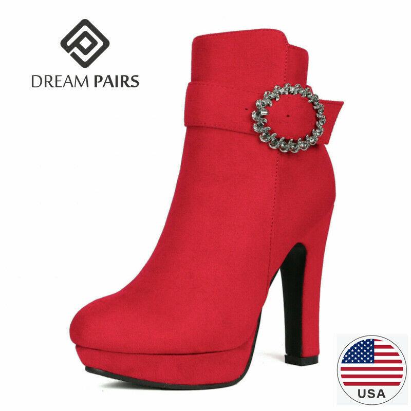 DREAM PAIRS Womens Platform High Heel Ankle Boots Suede Zipper Boots