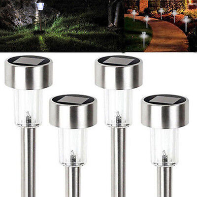 8 pack Outdoor Stainless Steel Led Solar Power Light Garden Path Lamp Landscape