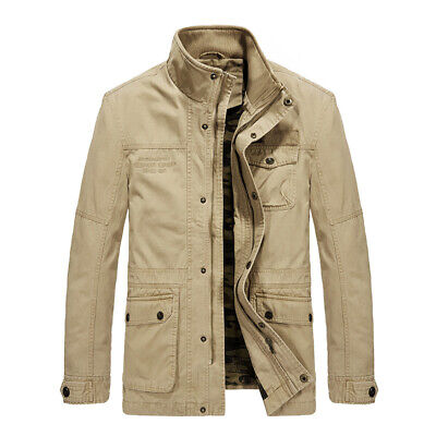 Men Jacket Casual Cotton Windbreaker Military Jackets Army Long Trench Outerwear ()