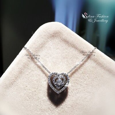18K White Gold Filled Simulated Diamond Studded Sparking Double Heart Necklace  Diamond Studded Heart Necklace