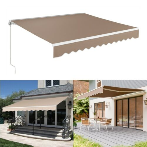 retractable manual patio awning balcony deck canopy