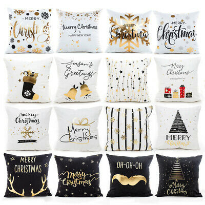 Christmas Pillow Case Glitter Cotton Linen Sofa Throw Cushion Cover Home Decor ()