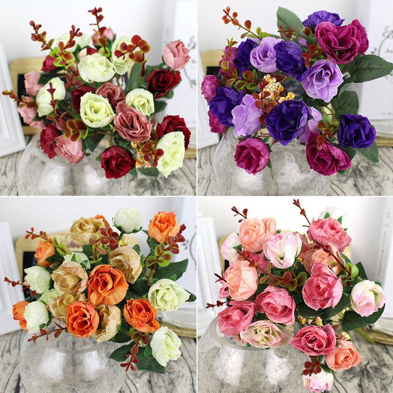 Orange 21 Heads Silk Rose Artificial Flower Bouquet Fake Dried Flowers