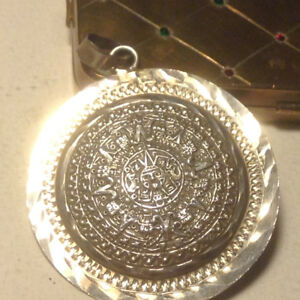 Antique Big Sterling Silver Aztec Pendant