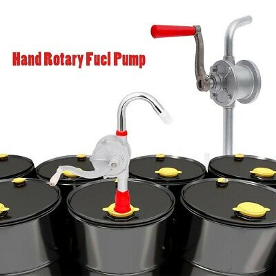 Hand Rotary Fuel Pump 10 Gpm Gas Oil Gasoline Dispenser Crank Aluminum 55 Gallon